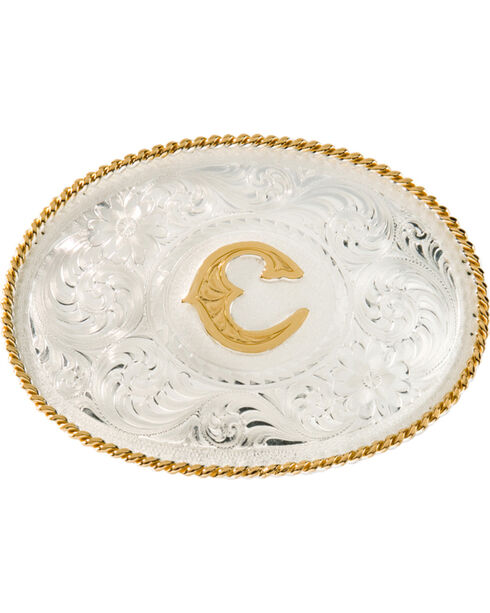 "Montana Silversmiths Initial ""C"" Buckle, Silver, hi-res"
