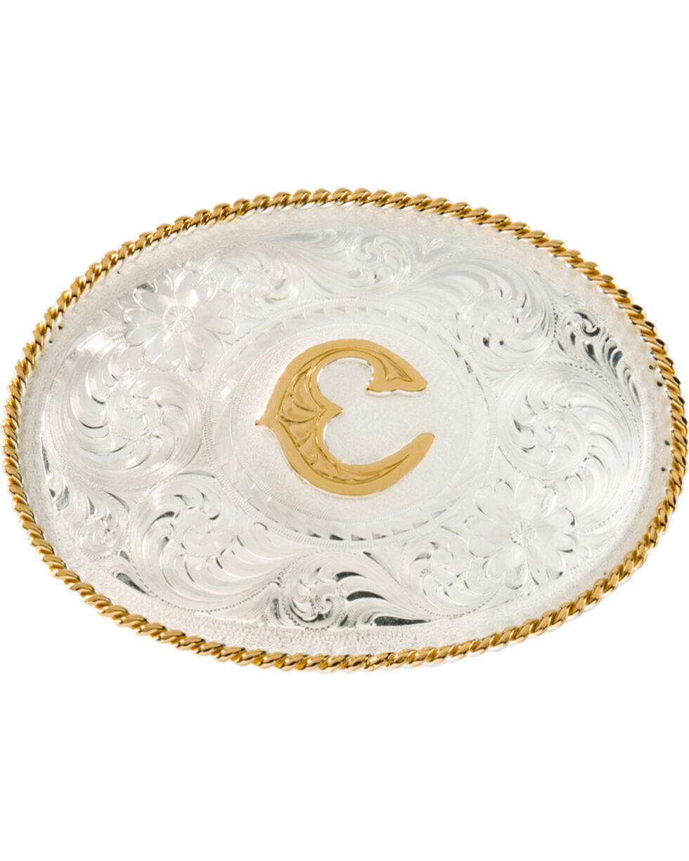 """Montana Silversmiths Initial """"C"""" Buckle, Silver, hi-res"""
