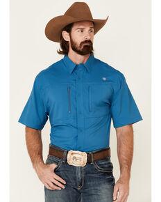 Ariat Men's Solid Teal TEK Short Sleeve Button-Down Western Shirt - Tall, Blue, hi-res