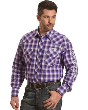 Wrangler Men's Purple Plaid Logo Shirt , Purple, hi-res