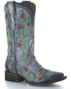 Corral Girls' Black Nopal Embroidery Western Boots - Square Toe, Black, hi-res