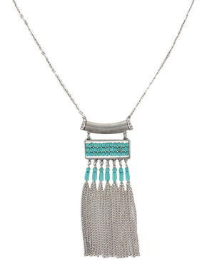 Shyanne Women's Turquoise & Fringe Necklace , Silver, hi-res