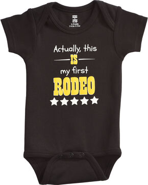 "Hers 'N Spurs Infant's ""First Rodeo"" Onesie, Black, hi-res"