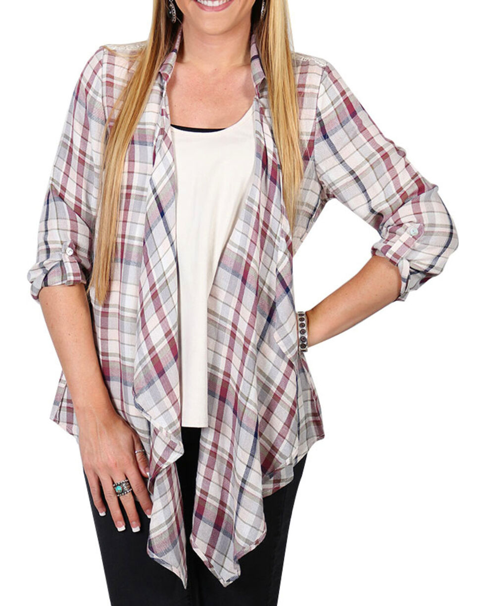 Shyanne Women's Plaid Lace Back Cardigan , Multi, hi-res