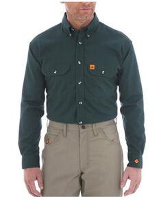 Wrangler FR Men's Solid Forest Green Long Sleeve Snap Work Shirt , Forest Green, hi-res