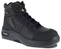 "Reebok Men's Trainex 6"" Lace-Up Waterproof Work Boots - Composition Toe, Black, hi-res"