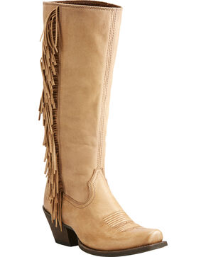 Ariat Women's Beige Leyton Tall Fringe Boots - Square Toe, Honey, hi-res