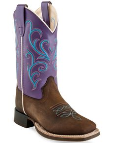 Old West Toddler Girls' Purple Western Boots - Square Toe, Brown, hi-res