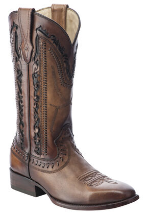 Corral Laser Cut Whip-Stitch Cowboy Boots - Square Toe, Tan, hi-res