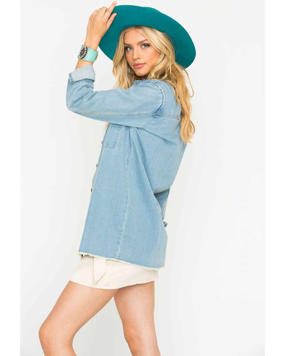 Sage the Label Women's Ellery Trucker Denim Shirt, Blue, hi-res
