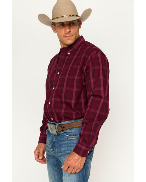 Cody James Men's Core Plaid Long Sleeve Shirt, Burgundy, hi-res