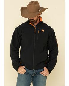 Cinch Men's Black Solid Contrast Logo Bonded Jacket , Black, hi-res
