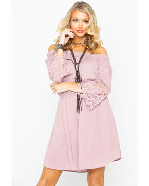 Panhandle Women's Off The Shoulder Lace Sleeve Dress , Mauve, hi-res