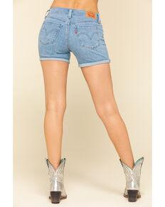 Levi's Women's Light Wash Mid Roll Hem Shorts, Blue, hi-res