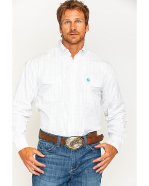 Wrangler Men's George Strait White Plaid Shirt , White, hi-res