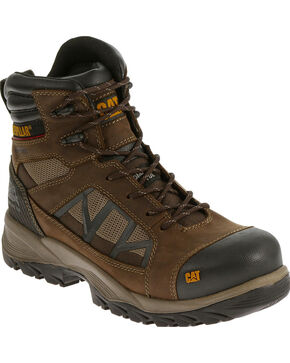 "Caterpillar Men's Compressor Clay 6"" Waterproof Work Boots - Composite Toe , Brown, hi-res"