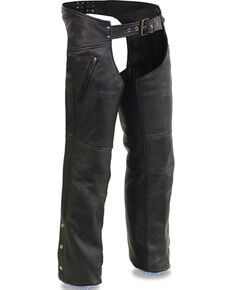 Milwaukee Leather Men's Cool Tec Leather Chaps - 4X, Black, hi-res