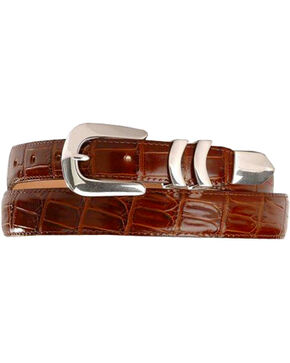 Crocodile Print Leather Belt, Brown, hi-res