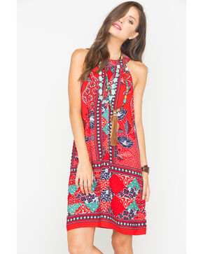 Miss Me Women's Bandana Print Halter Dress, Red, hi-res