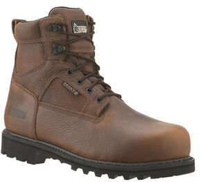 "Rocky Exertion 6"" Waterproof Work Boots - Steel Toe, Brown, hi-res"