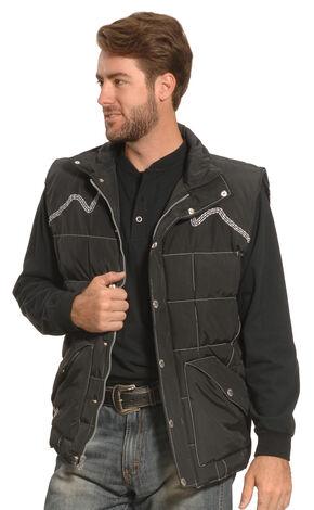 Cowboy Hardware Men's Black Triple Barbwire Nylon Vest , Black, hi-res