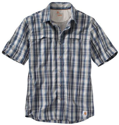Carhartt Men's Force Plaid Short Sleeve Shirt, Blue, hi-res