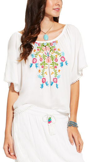 Ariat Women's White Short Sleeve Frida Top , White, hi-res