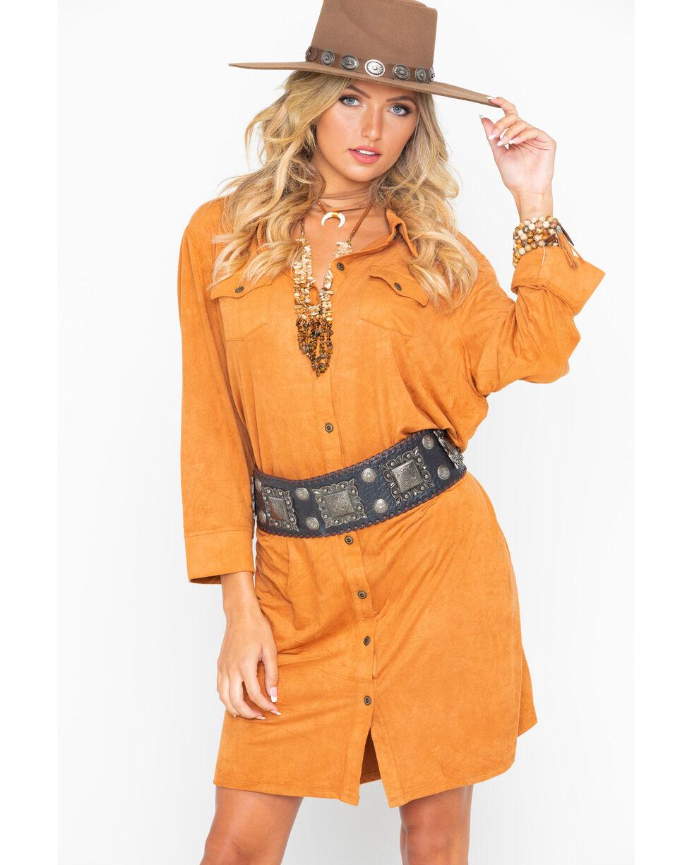 Wrangler Women's Tan Faux Suede Shirt Dress , Tan, hi-res