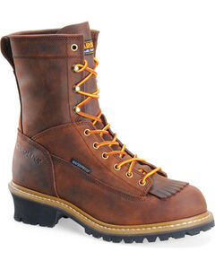 """Carolina Men's Brown 8"""" Waterproof Lace-to-Toe Logger Boots - Round Toe, Brown, hi-res"""