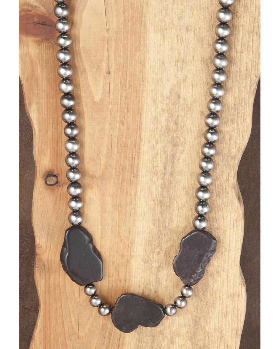 West & Co. Women's Worn Silver Black Stones Necklace, Silver, hi-res