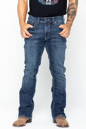 Wrangler Rock 47 Men's Embroidered Pocket Jeans , Denim, hi-res