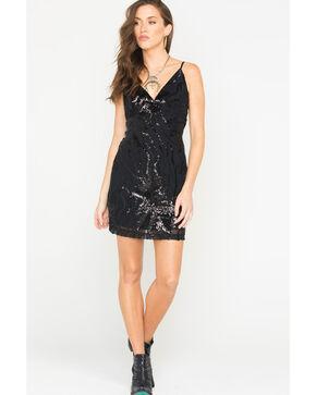 Illa Illa Women's Sequin V-Neck Dress, Black, hi-res