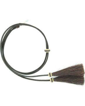 Leather with Horsehair Stampede String, Black, hi-res