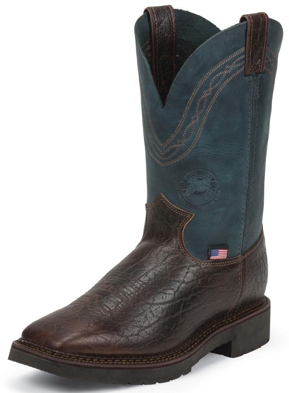 Justin Men's J-Max Caliber Pull-On Work Boots - Steel Toe, Dark Brown, hi-res