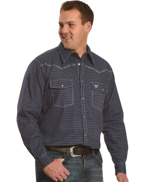 Cowboy Hardware Men's Navy Dashed Diamond Print Long Sleeve Shirt, Navy, hi-res