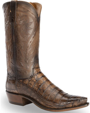 Lucchese Men's Bernie Caiman Belly Cowboy Boots - Snip Toe, Dark Brown, hi-res