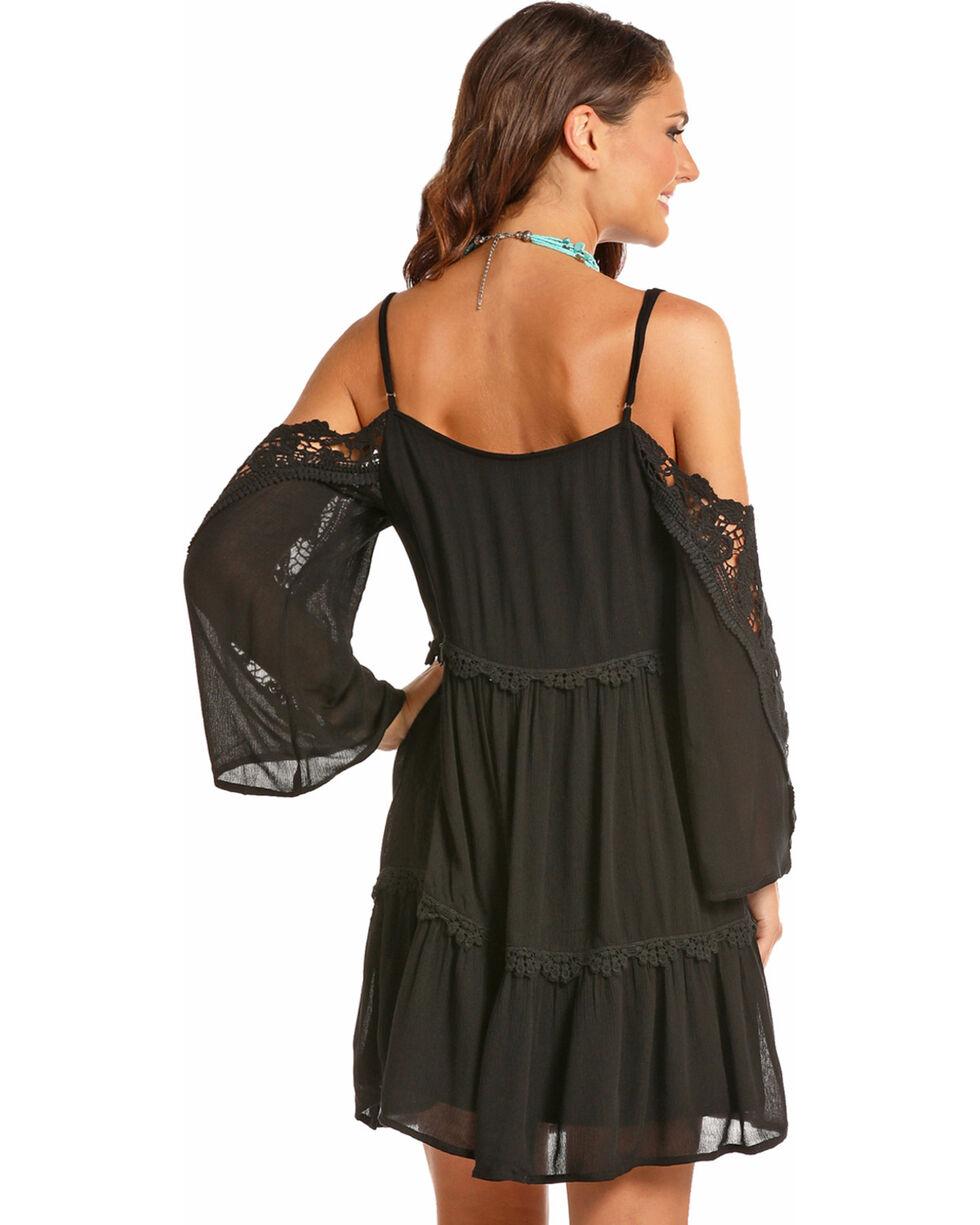 Panhandle Women's Black Cold Shoulder Lace Sleeves Dress, Black, hi-res