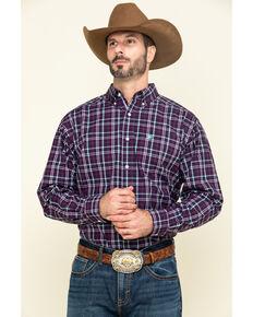 Ariat Men's Riverview Plaid Long Sleeve Western Shirt - Tall , Purple, hi-res