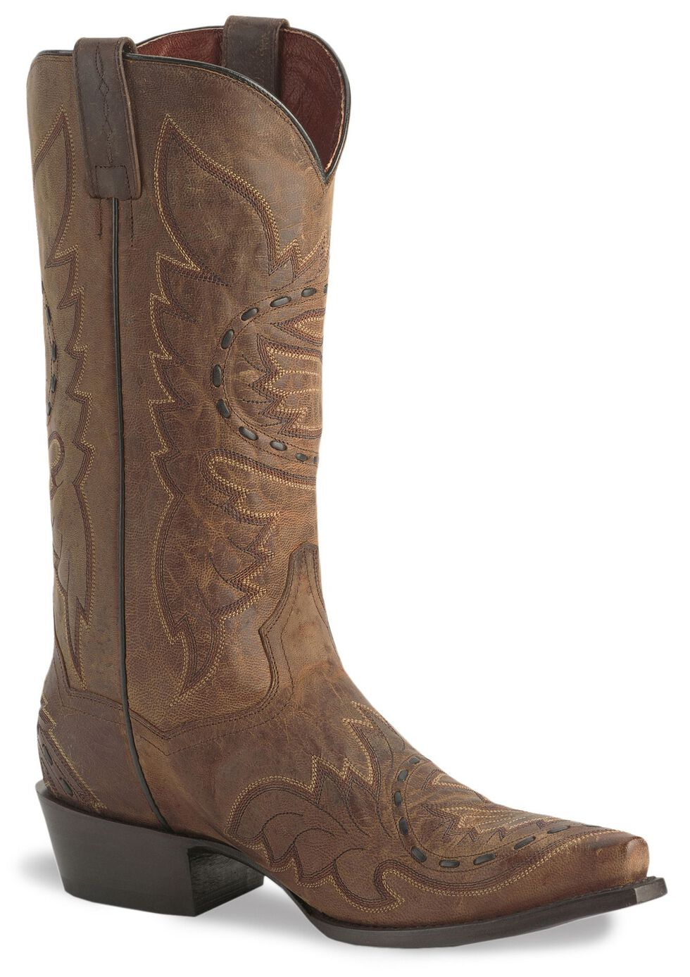 Dan Post Side Winder Distressed Cowboy Boots, Bay Apache, hi-res
