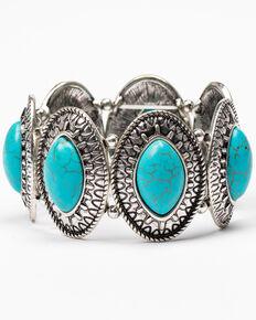 Shyanne Women's Roaming West Concho Stretch Bracelet, Silver, hi-res