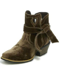 Justin Gypsy Women's Elana Brown Velvet Booties - Wide Square Toe, Brown, hi-res