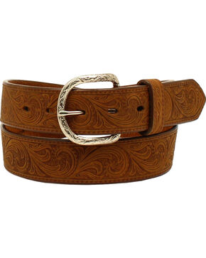 Nocona Men's Floral Distressed Belt , Medium Brown, hi-res