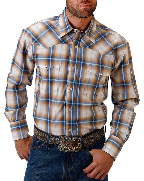 Roper Men's Plaid and Paisley Trim Long Sleeve Shirt, White, hi-res