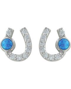 Montana Silversmiths Women's Lightfoot Horseshoe Earrings, Silver, hi-res