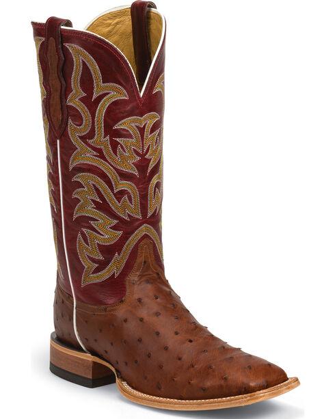 Justin AQHA Remuda Full Quill Ostrich Cowboy Boots - Square Toe , Cognac, hi-res