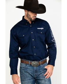 Wrangler Men's Navy Solid Logo Long Sleeve Western Shirt , Navy, hi-res