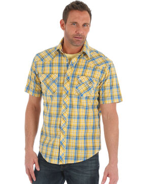 Wrangler Men's Yellow Retro Plaid Sawtooth Pocket Shirt , Yellow, hi-res