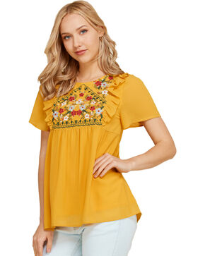 Polagram Women's Floral Embroidered Baby Doll Top, Gold, hi-res