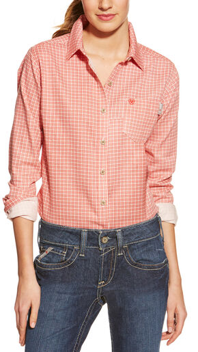 Ariat Women's Fire-Resistant Red Tioga Plaid Long Sleeve Work Shirt, Red, hi-res