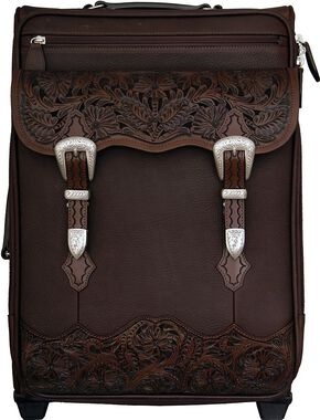 Smooth Leather with Floral Tooling Wheeled Luggage, Brown, hi-res